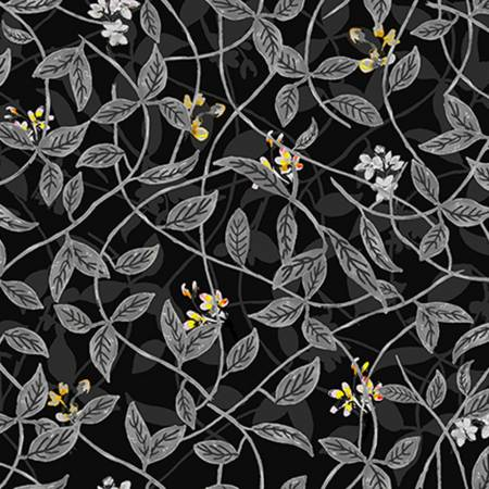 Citrus Garden - Leaves - Charcoal Fabric