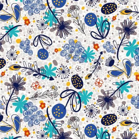 Flower Doodles - Potpourri, Royal Blue - by RJR Studio for RJR Fabrics