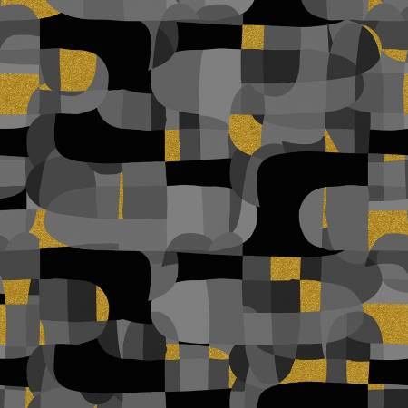 Abstract Fabric- Black Shiny Objects Collection from RJR Studio