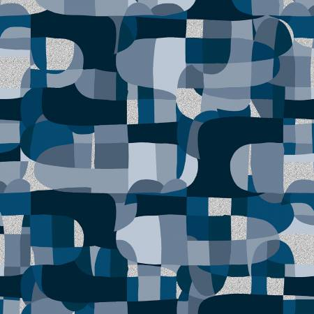 Shiny Objects Glitz and Glamour by RJR Studio for RJR Fabrics - Abstract - Deep Ocean - Metallic