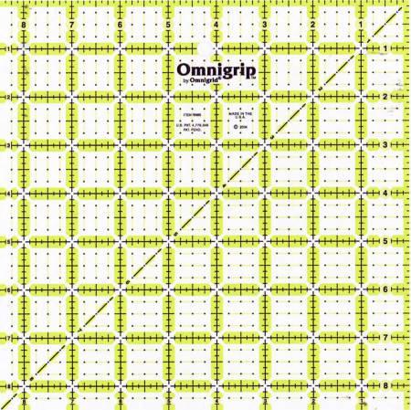 Omnigrid Omnigrip Neon Ruler 8-1/2in Square