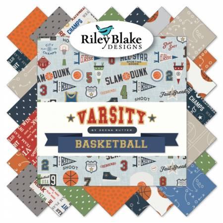 Riley Blake Varsity Basketball  2-1/2in Strips 40pcs