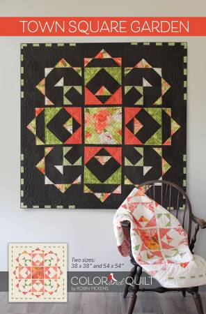 Town Square Garden Quilt Kit, black background