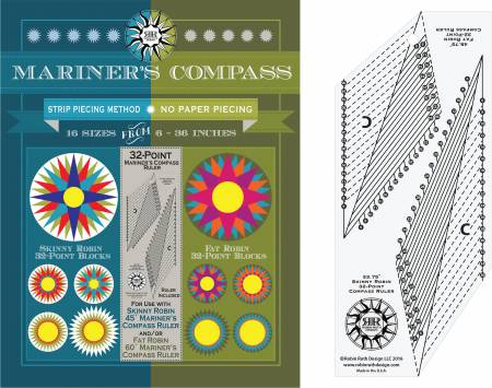 32 Point Mariner's Compass Pattern and Ruler - Robin Ruth Design