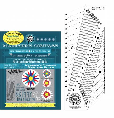 Robin Ruth Design Skinny Robin 16 Point Mariner's Compass Book and Ruler Combo