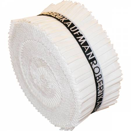 2-1/2in Strips Roll Up Kona Solids White Colorway 40pcs
