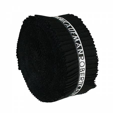 2-1/2in Strips Roll Up Kona Solids Black Colorway 40pcs RU 196 40
