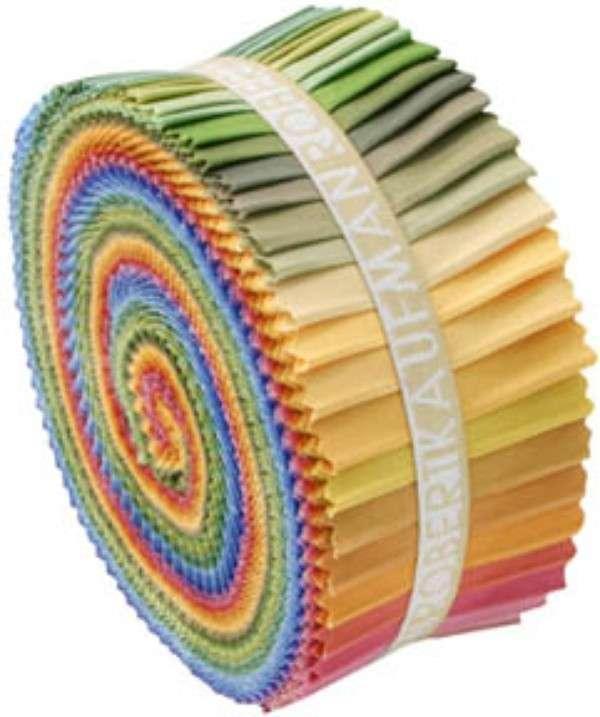 2-1/2in Strips Roll Up Kona Cotton Solids Dusty Palette 41pcs
