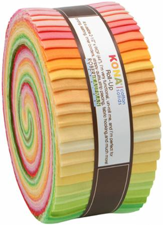 2-1/2in Strips Roll Up Kona Solids Sunrise Palette 43pcs