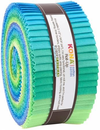 Fabric Robert Kaufman Precut 2-1/2in Strips Kona Solid Mermaid Shores, 40pcs