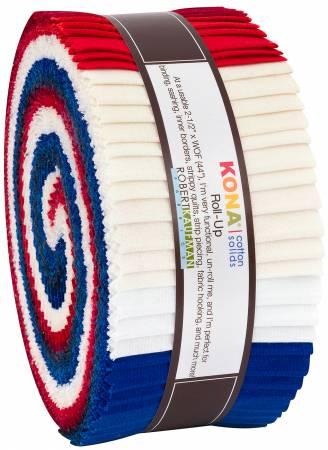 Fabric Robert Kaufman Precut 2-1/2in Strips Kona Solid Patriotic, 40pcs