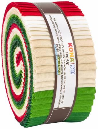 2-1/2in Strips Kona Cotton Christmas Holiday Palette, 40pcs/bundle