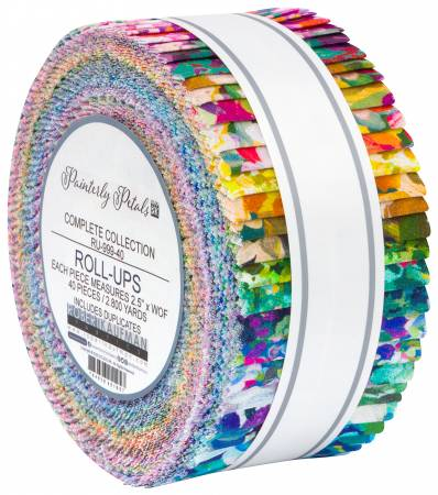 Painterly Petals Roll Ups (2 1/2 Strips, 40pcs): Painterly Petals (Studio RK)
