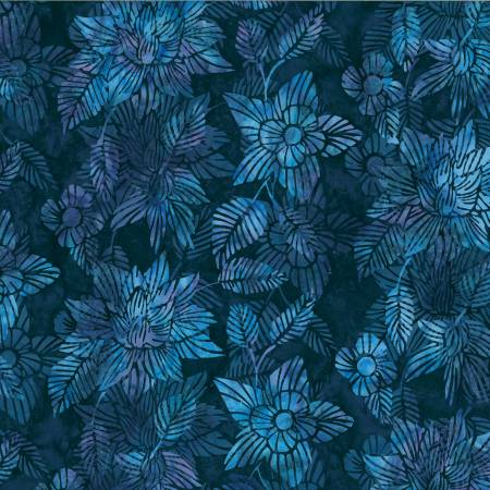 Liquorice Fractured Florals Bali Batik