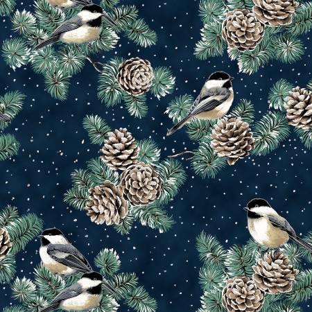First Snowfall Navy Birds & Pinecones Metallic
