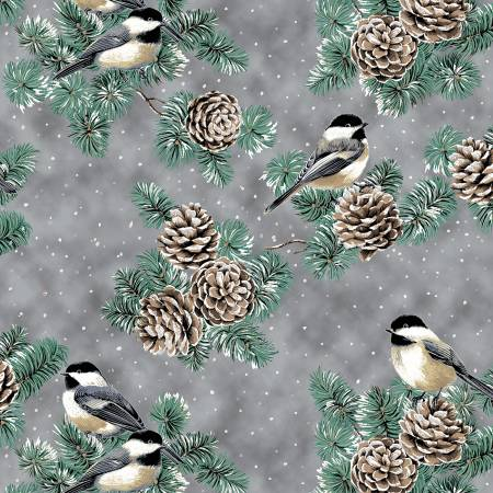 First Snowfall Pewter Birds & Pinecones