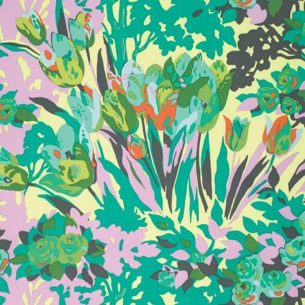 Meadow Blooms Grass Violette Sateen