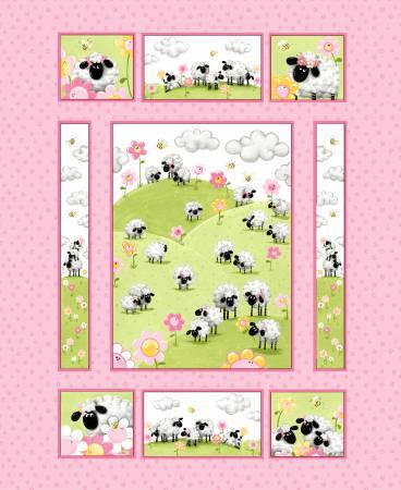 Pink Lal the Lamb Quilt Panel