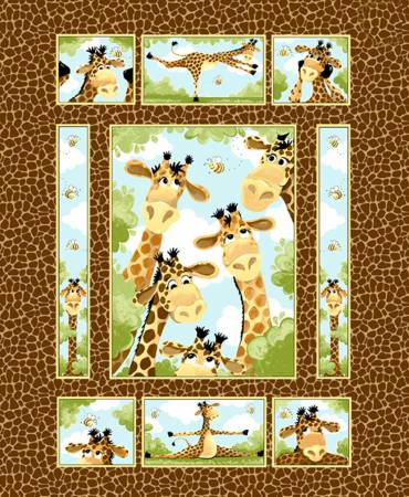 Brown Zoe the Giraffe Quilt Panel 36in