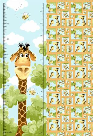 Aqua Zoe the Giraffe Growth Chart 30in x 44in