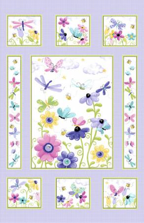 Lilac flutter the butterfly - quilt panel