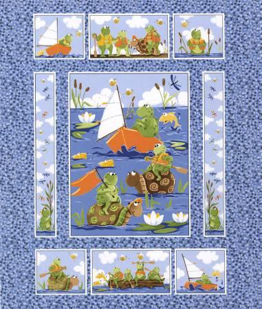 7/8 yd.  Blue Paul & Sheldon Paddling Quilt Panel