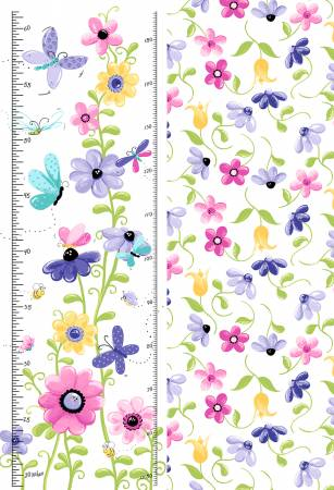 Flutter, the Butterfly Growth Chart -- 30 x 43/44 White/Lilac/Multi