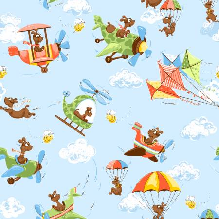 Zig the Dog Flying Planes, Helicopters, and Kites: Zig Flying Ace Allover by World of Susybee for Hamil Textiles
