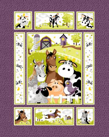 Panel 57 Barnyard Buddies Purple
