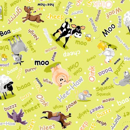 SPECIALTY FABRICS:  Animals and Their Noises on Lime Green:  Barnyard Buddies Noises Allover by World of Susybee for Hamil Textiles