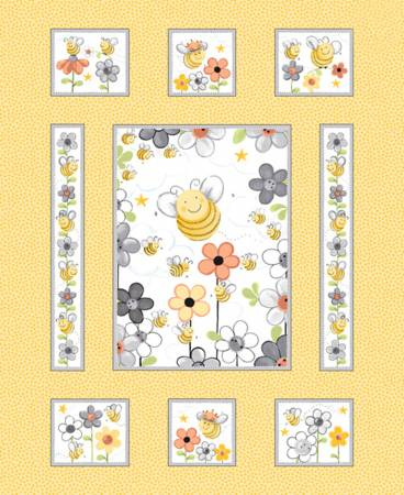 Susybee Yellow Sweet Bees Fabric Panel