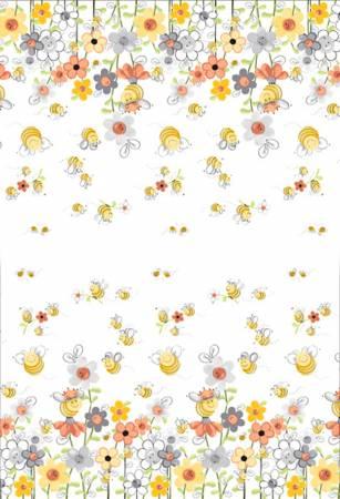Susybee White/Multi Sweet Bees Double Border