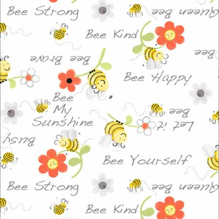 Susybee Sweet Bees Words Floral - White