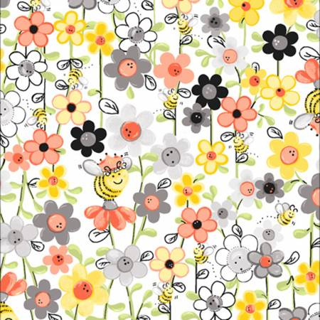 Susybee White/Multi  Sweet Bee Floral Fabric