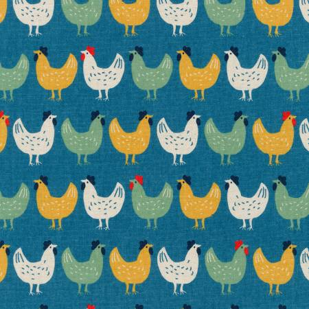 Cotton Flax Chickens blue