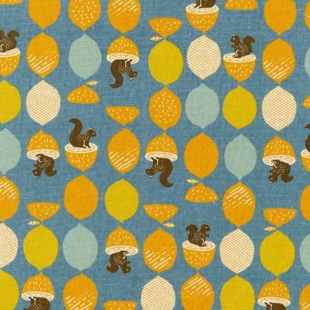 Fabric Cotton Flax Prints Squirrels Slate