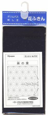 Sashiko Panel Traditional Design Asa-no-ha Navy