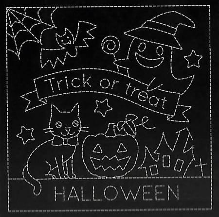 Sashiko Sampler Happy Halloween on Black 13.5in x 27in