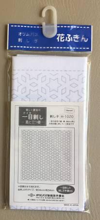 Sashiko Sampler - Hitome-Zashi:  Hoshi-to-Mitsubish White Pattern