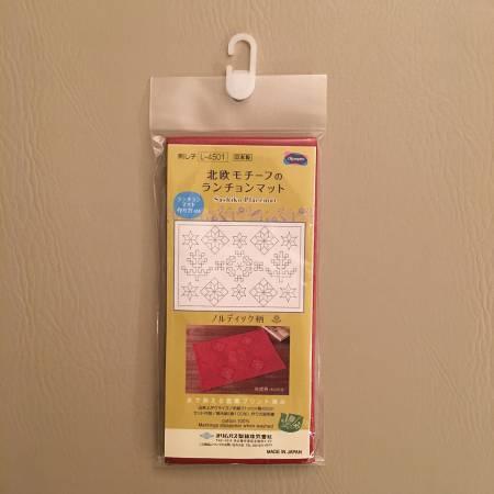 Sashiko Sampler Placemat Nordic Designs Red Pattern