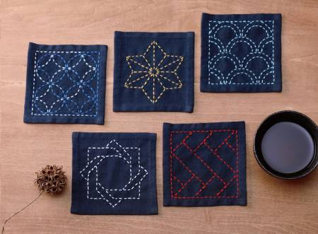 SASHIKO SAMPLER COASTER NAVY