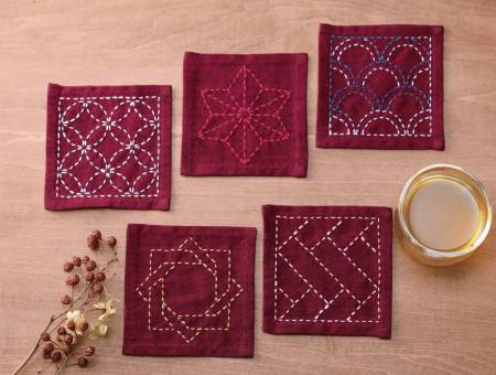 Sashiko Tsumugi Sampler Coasters Deep Red