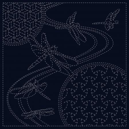 **Sashiko Cloth Dragonfly