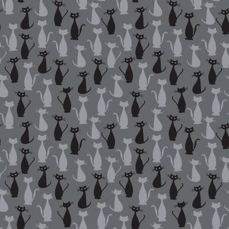 Spooky Hollow Cats Charcoal Sparkle