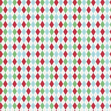 Christmas w/Sparkle Argyle White