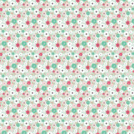Glam Girl - Small Floral - Mint With Rose Gold Sparkle