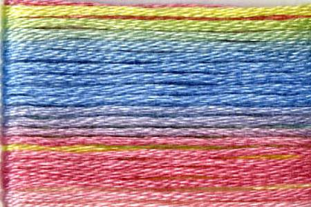 Cosmo Seasons Variegated Embroidery Floss Yellow/Blue/Pink