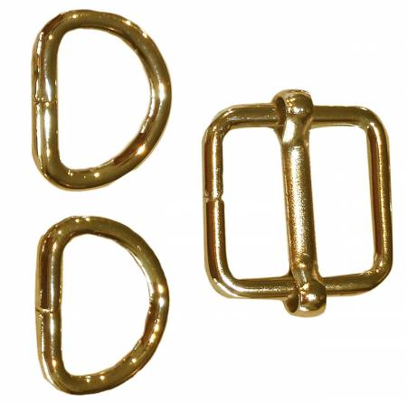5/8in Slide Buckle with 2 D-Rings, Brass