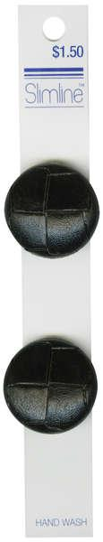 Shank Button Black Leather 1-1/8in 2ct