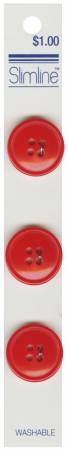 4 Hole Button Red 3/4in 3ct